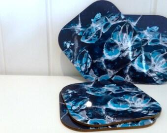 Blue Floral Pattern Coasters - Blue Coasters - Navy Floral Coasters - New Home Coasters - Floral Coaster Set