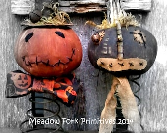 Primitive Folk Art *Pumpkin Nodders* epattern--PDF--Fall-Halloween-Instant Download--Hafair Team, FAAPFALL