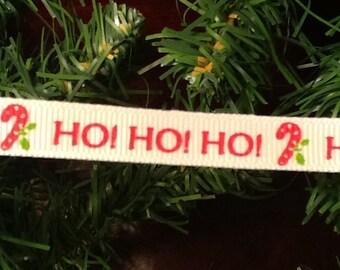 """Ho! Ho! Ho! 3/8"""" Christmas ribbon"""
