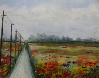 """This is a print of my original  watercolor painting titled """" Country Road """"  Available 5 x 7, 8 x 10, 11 x 14, notecards"""