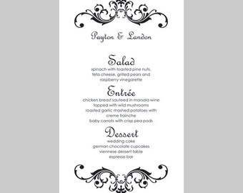 Wedding Menu Card Template – Vintage Scrolls (Black) - Instant Download - Editable MS Word File