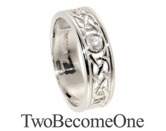 5mm Ladies 9k White Gold Flat Shape Handmade Celtic Diamond Wedding Ring / Band / 4.5g