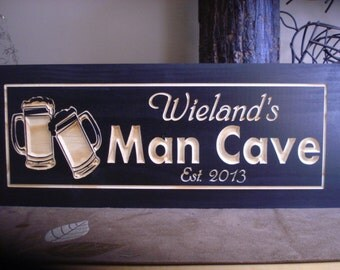 MAN CAVE Sign, Beer Mugs,  Brew House, Micro Brew, Personalized Carved Wooden Sign, GROOMSMAN Gifts, Fathers Day Gift, Benchmark Signs Gifts