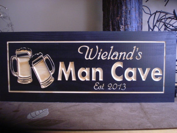 Man Cave Beer Signs : Man cave beer brew black personalized carved wooden sign