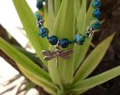 Teal Watercolour Dragonfly Bracelet