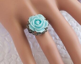 Blue Ring, Aqua Blue Ring, Flower Ring, Aqua Rose Ring, Blue Rose Ring, Gunmetal Ring, Adjustable Ring, Bridesmaids Gift, Wedding Jewelry