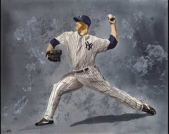 Andy Pettitte 11x14 watercolor