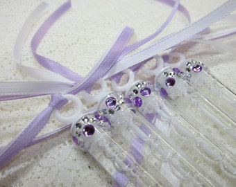 30 Wedding Bubble Wands with rhinestone and (2) ribbons
