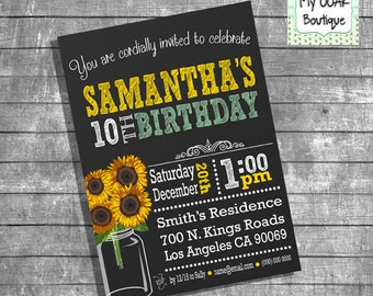 Sunflowers Birthday invitation chalkboard sunflowers party invite 21th 30th 40th 50th 60th any age digital printable invitation 13228