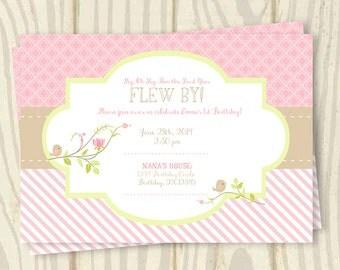 Bird Birthday Invite - The First Year Flew By - 7x5