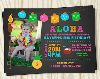 Luau Birthday Invitation - Chalkboard Photo Invite - 5x7
