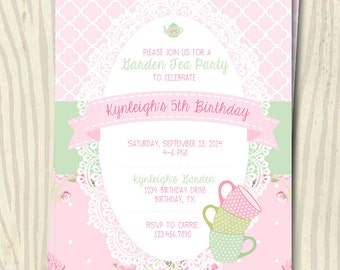 Garden Tea Party Birthday Invitation - 5x7