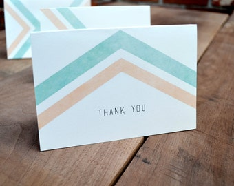 Modern Thank You Card Set - Rustic chevron thank you cards - Pastel mint peach thank you cards