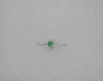"Genuine Emerald ""Heart"" Ring 10kt White Gold"