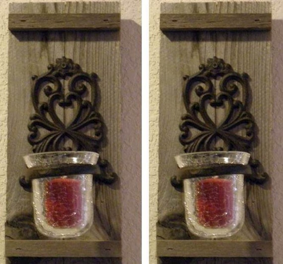 Wall Votive Sconces: Rustic Wall Sconce Set With Votive Candle By