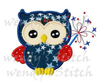 July 4th patriotic owl with fireworks applique machine embroidery design