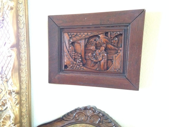 Antique Hand Carved Chinese Wood Plaque By Tallulahway On Etsy