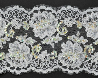 Beaded Sequin Flower Embroidery Ribbon Lace Trim, Bridal Lace, 8 Inch by 1 Yard, ROI-44361
