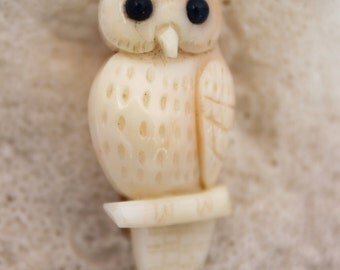 WOW!! VIntage Hand carved CORAL OWL pin,precious!