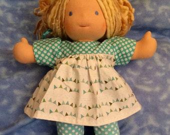 "Waldorf Doll - 15""  Turquoise and White Dress and Leggings"