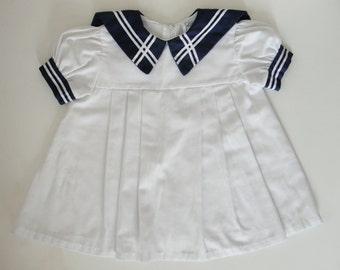 Vintage Navy and White Sailor Dress - size 2 Toddler