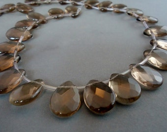 18x13 Natural Smoky Quartz cut faceted Teardrop, cut faceted (Reduce Price)