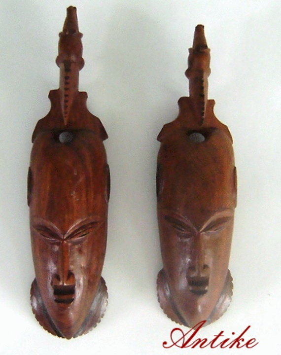 Vintage balinese hand carved wood wall hanging wooden