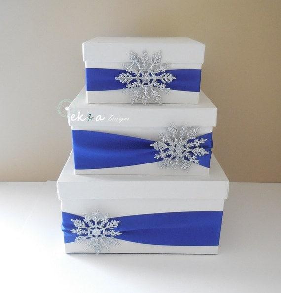 Winter Wedding Gift Card Box : Wedding card box / money box / card holder / gift card box / 3