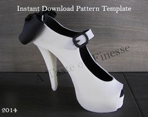 Instant Download Pattern Template Fondant High Heel Shoe Cake Topper, Sugar Shoe Pattern, Gum Paste High Heel Template, Fondant Stiletto