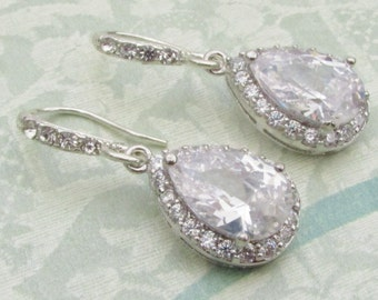 Bridal Earrings - Bridal Drop Earrings - Cubic Zirconia Earrings - Crystal Bridal Earrings - Bridesmaid Jewelry - Crystal Drop Earrings
