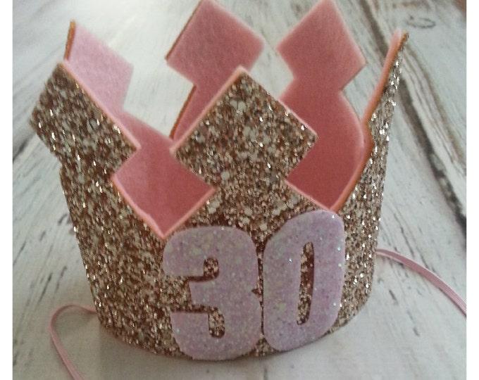 Pink and Gold Glittery 30th Birthday Crown | Birthday Crown | Adult Cake Smash, 30 | Birthday