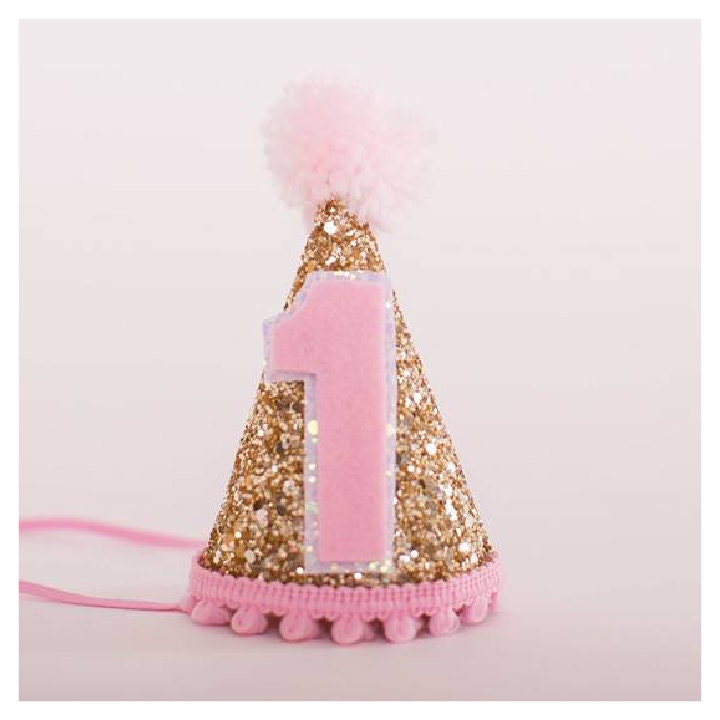 Custom Mini Glittery Birthday Girl Party Hat First Birthday