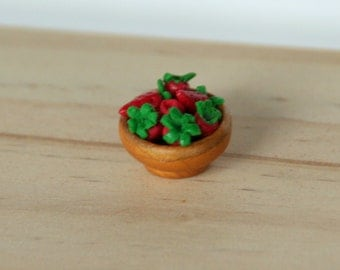 Dollhouse Miniature - Strawberries in a Bowl