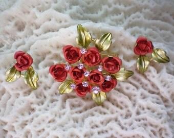 Metal & Enamel Bouquet of Roses Brooch and Pierced  Earrings - 2444