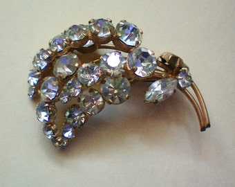 Rhinestone Flower Brooch - 1746