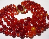 Huge Massive Vintage French Bakelite 5-Strand AMBER TORTOISE LUCITE Galaith Runway Statement Necklace with Oversize Clasp