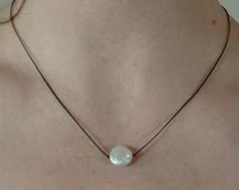 N182  nano cord, fresh water coin pearl necklace