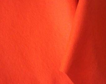 "WOOL FELT YARDAGE Dark Tangerine Orange  Approx 13 yd x 10""  Sold in one yard increments."