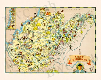 Pictorial Map of West Virginia - colorful fun illustration of vintage state map