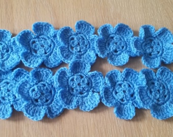 Set of 10 Blue Crocheted Flowers