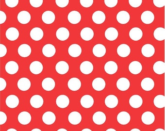 Red with white polka dots craft  vinyl sheet - HTV or Adhesive Vinyl -  large polka dot pattern HTV702
