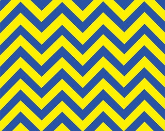 Blue and yellow chevron craft  vinyl sheet - HTV or Adhesive Vinyl -  large zig zag pattern   HTV138