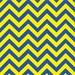 Blue and yellow chevron HEAT TRANSFER vinyl sheet large zig zag pattern   HTV138