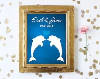 Wedding Gift, Custom Wedding Gift, Engagement Gift, Anniversary Gift, Wedding Shower Gift, Dolphin Wedding, Dolphin Couple, Dolphin Print
