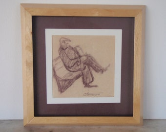 Original Pastel  Drawing. Original Line Drawing. Sitting Men Drawing. Sketch on Paper. Vinatge Look. Wall  Decor.              .