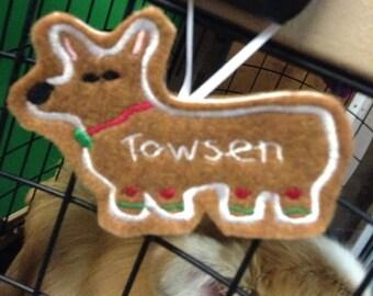 Pembroke Welsh Corgi Personalized Felt Gingerbread Ornament