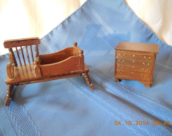 Doll House Furniture Rocking Chair Cradle Combo And Dresser