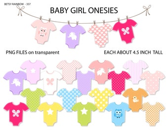 Baby Girl onesie clipart, Baby girl, onesies, clip art, clothesline. digital clipart, cliparts - PNG and JPG - BR 357
