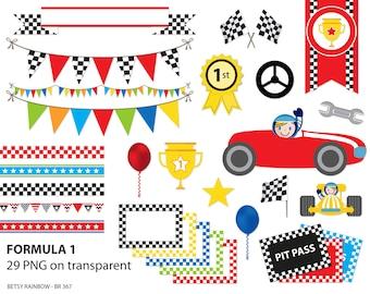 Formula 1 clipart pack, digital borders, digital frames, bunting clipart, racing, boy, race cars, formula one, scrapbook supplies - BR 367