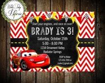 Cars Invitation, Cars Lightning McQueen Invitation, Cars Birthday Invitation, Cars Birthday Invite, Cars Digital Invitation, Printable